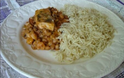 Beans with coconut rice